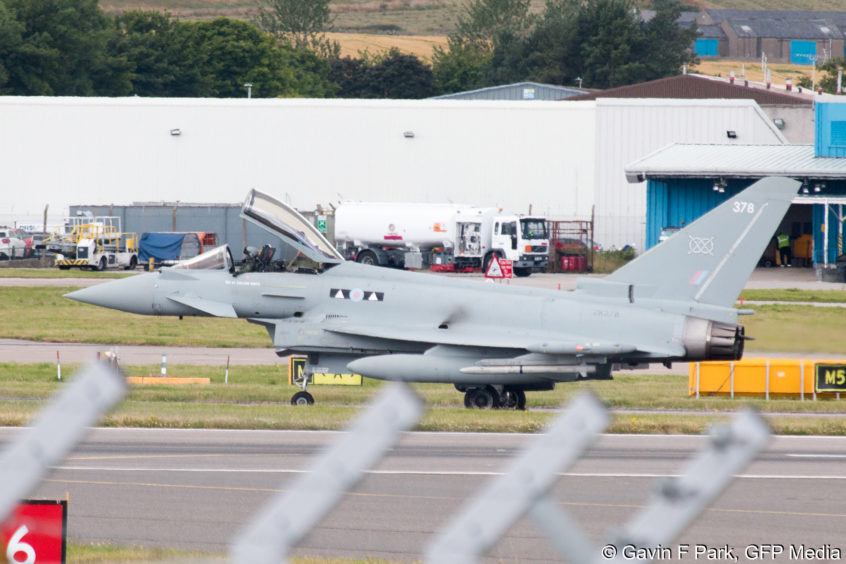 The RAF fighter jet at Aberdeen airport after emergency landing. Picture courtesy of GFP Media