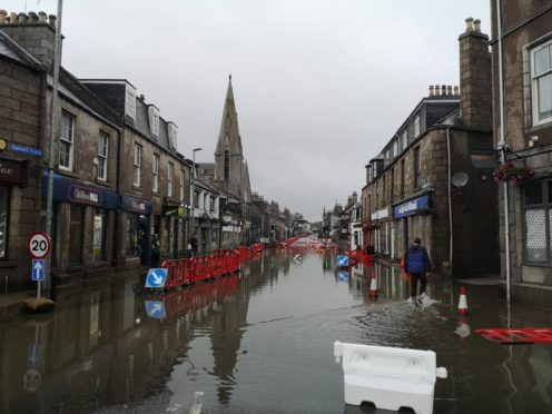 Flooding on West High Street, Inverurie.