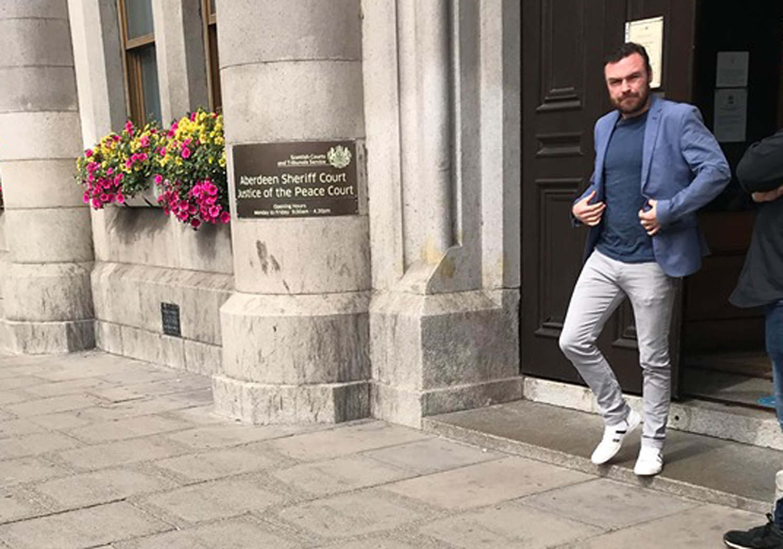 Jonathan Slowey leaving Aberdeen Sheriff Court