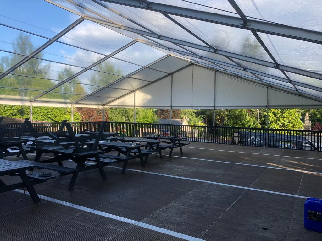 The new outdoor seating area at the Bieldside Inn