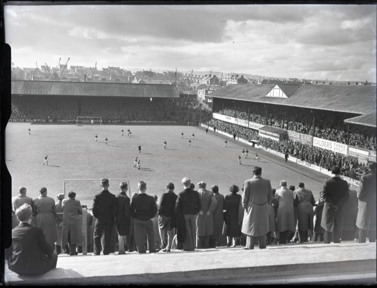 1957: The crowds watch on at Pittodrie Park, Aberdeen, the home of Aberdeen FC.