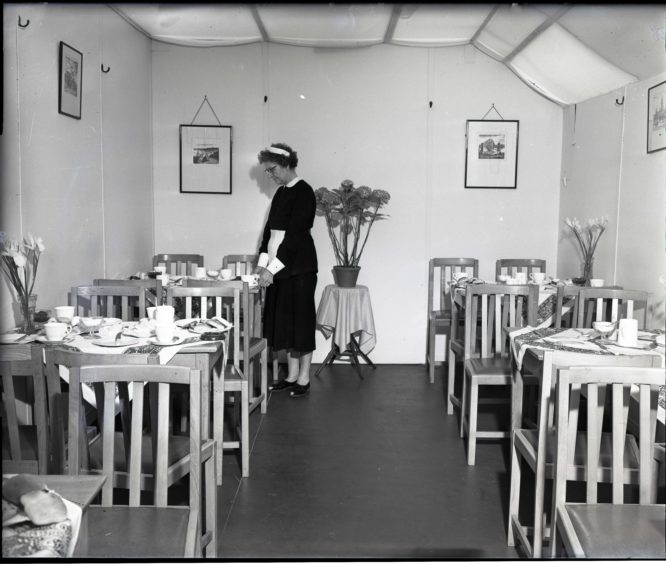 1959: The tea tent at the Thomson-Leng stand at the Royal Highland Show, Hazlehead Park, Aberdeen
