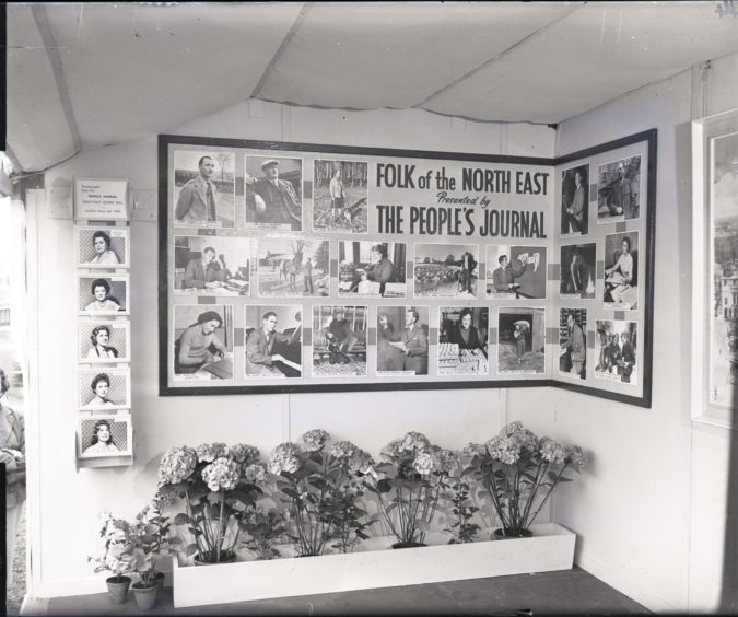 1959: The People's Journal exhibit at the the Thomson-Leng stand at the Royal Highland Show, Hazlehead Park, Aberdeen.