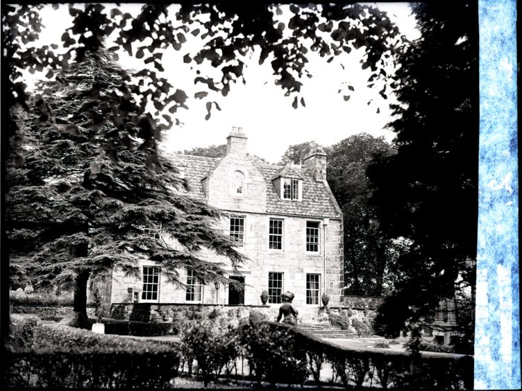 1953: The front entrance and gardens of Friendville House, Mannofield, Aberdeen.