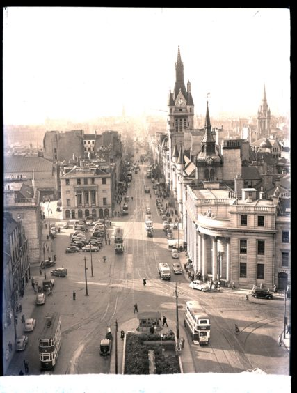 1953: Looking west down Union Street, Aberdeen, from on top of the Salvation Army Citadel in Castle Street