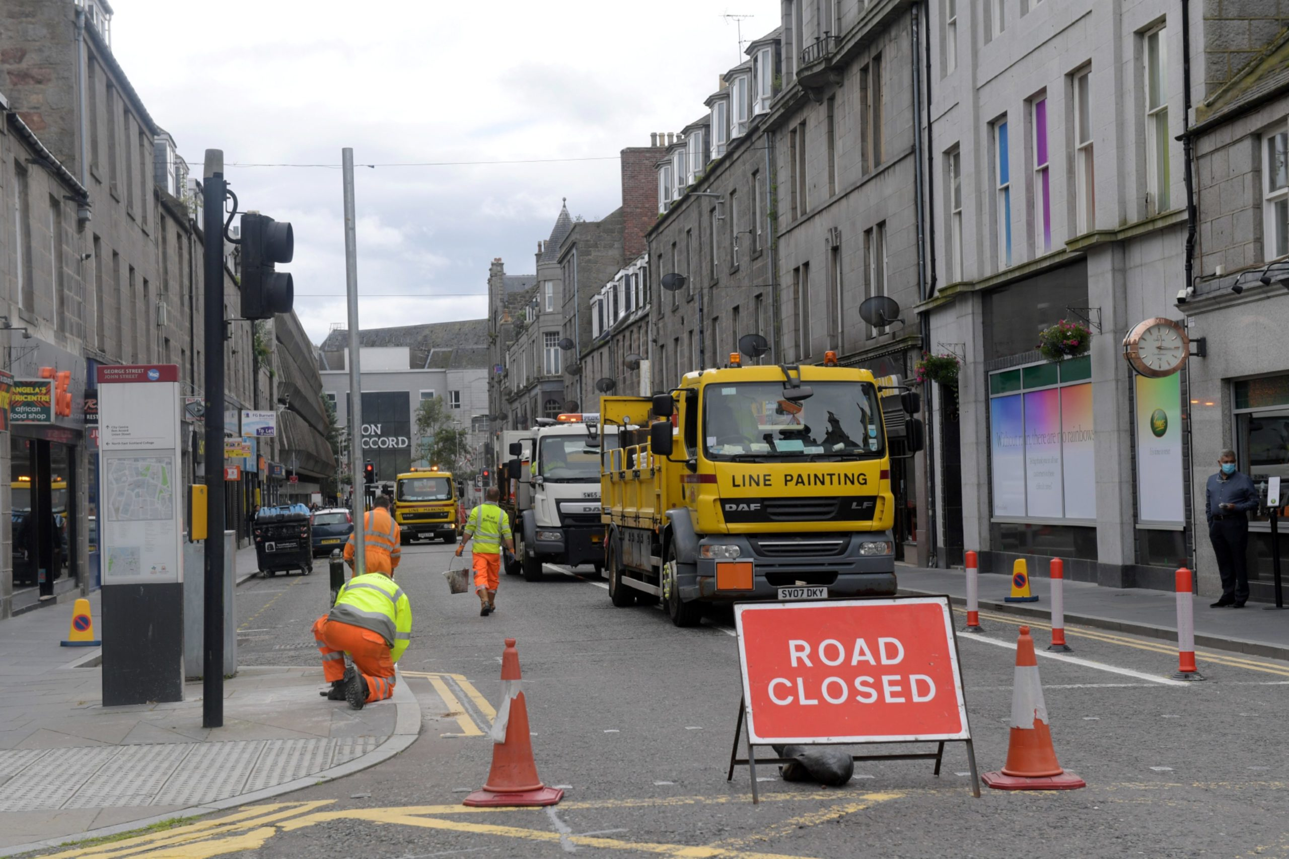 Work is continuing on measures to aid social distancing around George Street