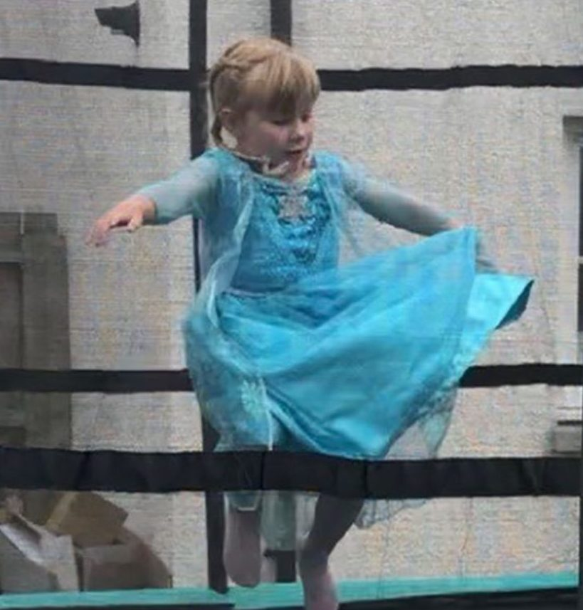 Eloise playing on the  trampoline for the first time earlier this month