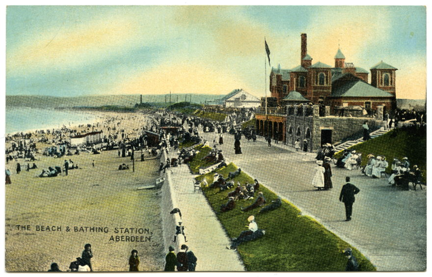 An early 20th century postcard showing the Bathing Station and promenade as eventually built. The Bathing Station proved so popular that it had been extended to include a swimming pool, water chute and additional standard and Turkish baths. Generations of Aberdonians learnt to swim in its freshwater pool.