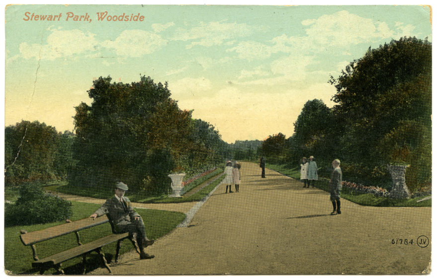 Stewart Park opened in 1894 and was named after then Lord Provost David Stewart. The land was acquired from the Hilton Estate and the park was designed to be used by all ages. This colourised postcard shows one of the park's main walkways in the early 20th century.