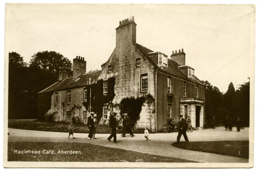 Late 1920s postcard showing the old café in Hazlehead Park. The building was once the mansion house of Hazlehead Estate. It was converted into a café when the park opened. It was demolished in 1959 to make way for the new café restaurant located on the same site.
