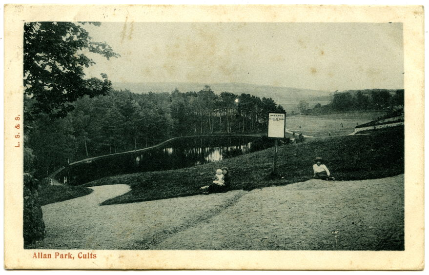 An early 20th century postcard showing the entrance to Allan Park in Cults, with its pond in the background. The park was gifted to the Parish of Peterculter by local resident David Allan to commemorate the Diamond Jubilee of Queen Victoria.