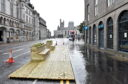 The new wooden pavement extensions installed on Union Street, Aberdeen