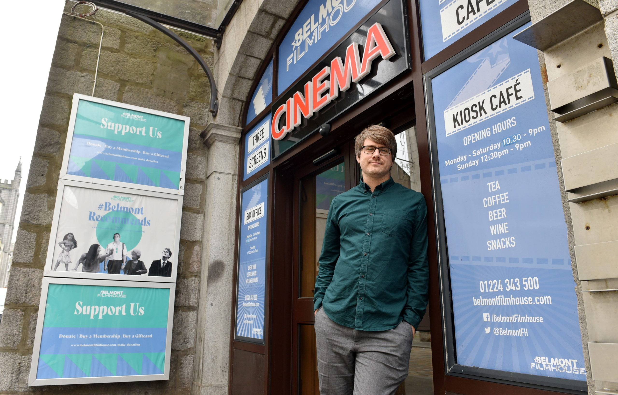 Cinema manager Colin Farquhar outside the Belmont Filmhouse. Picture by Darrell Benns