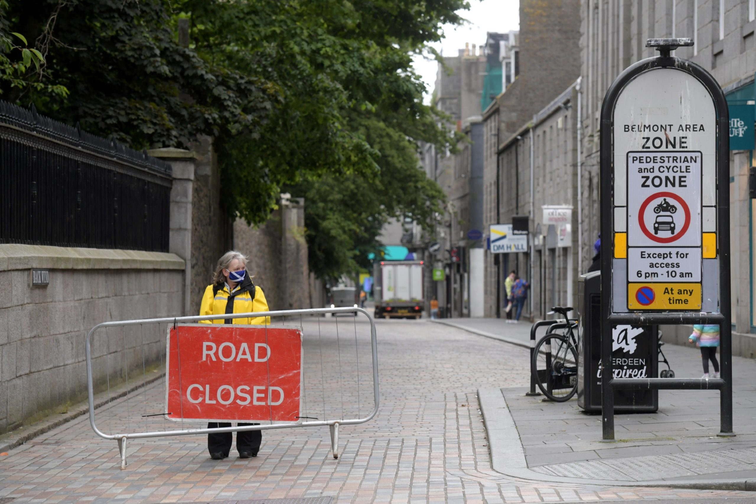 A security guard at the barriers on Union Street. Picture by Kath Flannery