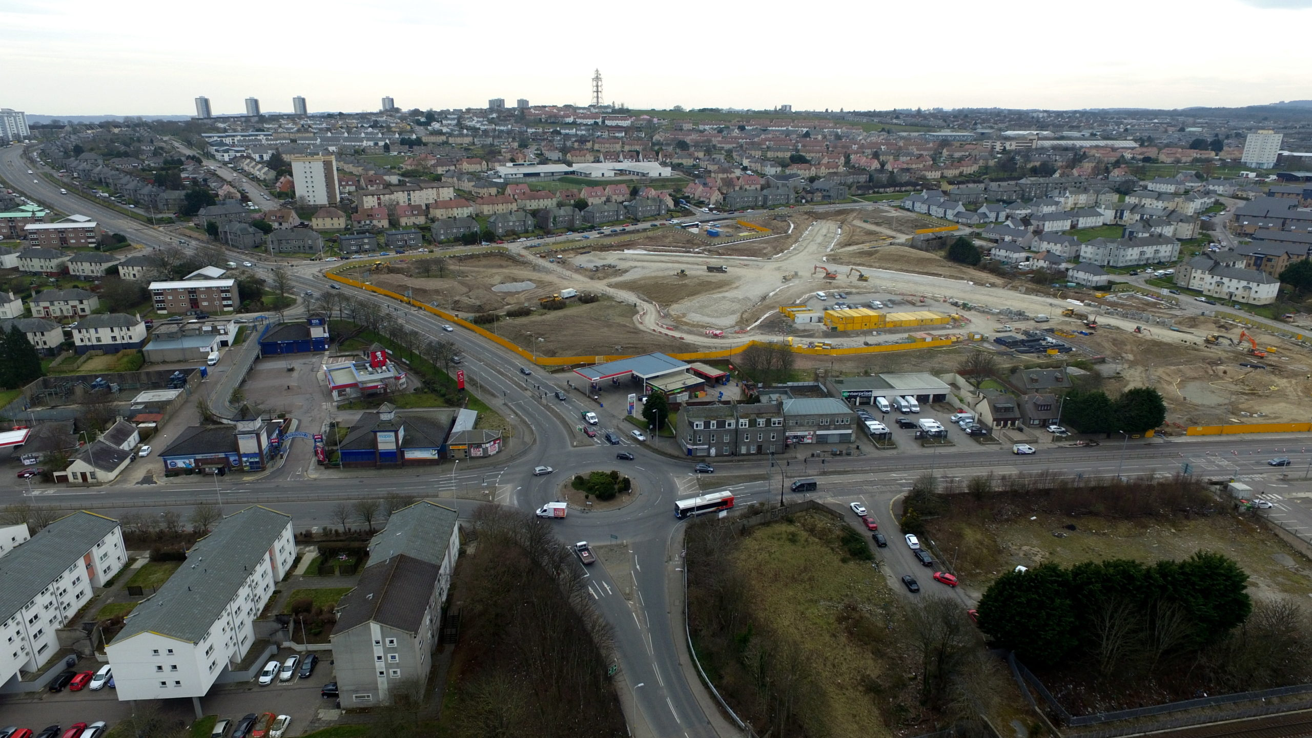 An aerial view of the extensive work at the Haudagain roundabout