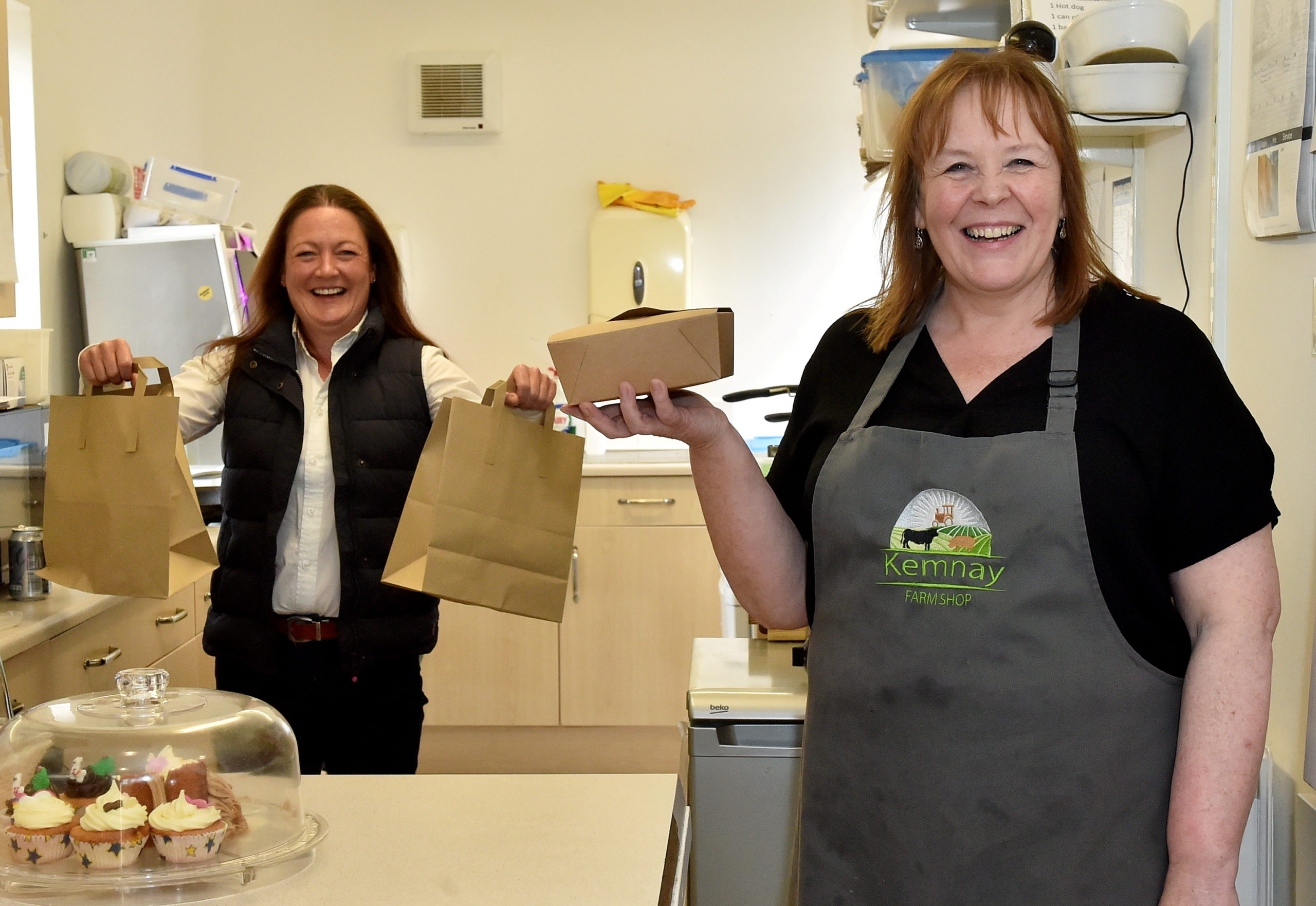 Michelle Clark, front, and Jill Thomson at Kemnay Farm Shop. Picture by Scott Baxter