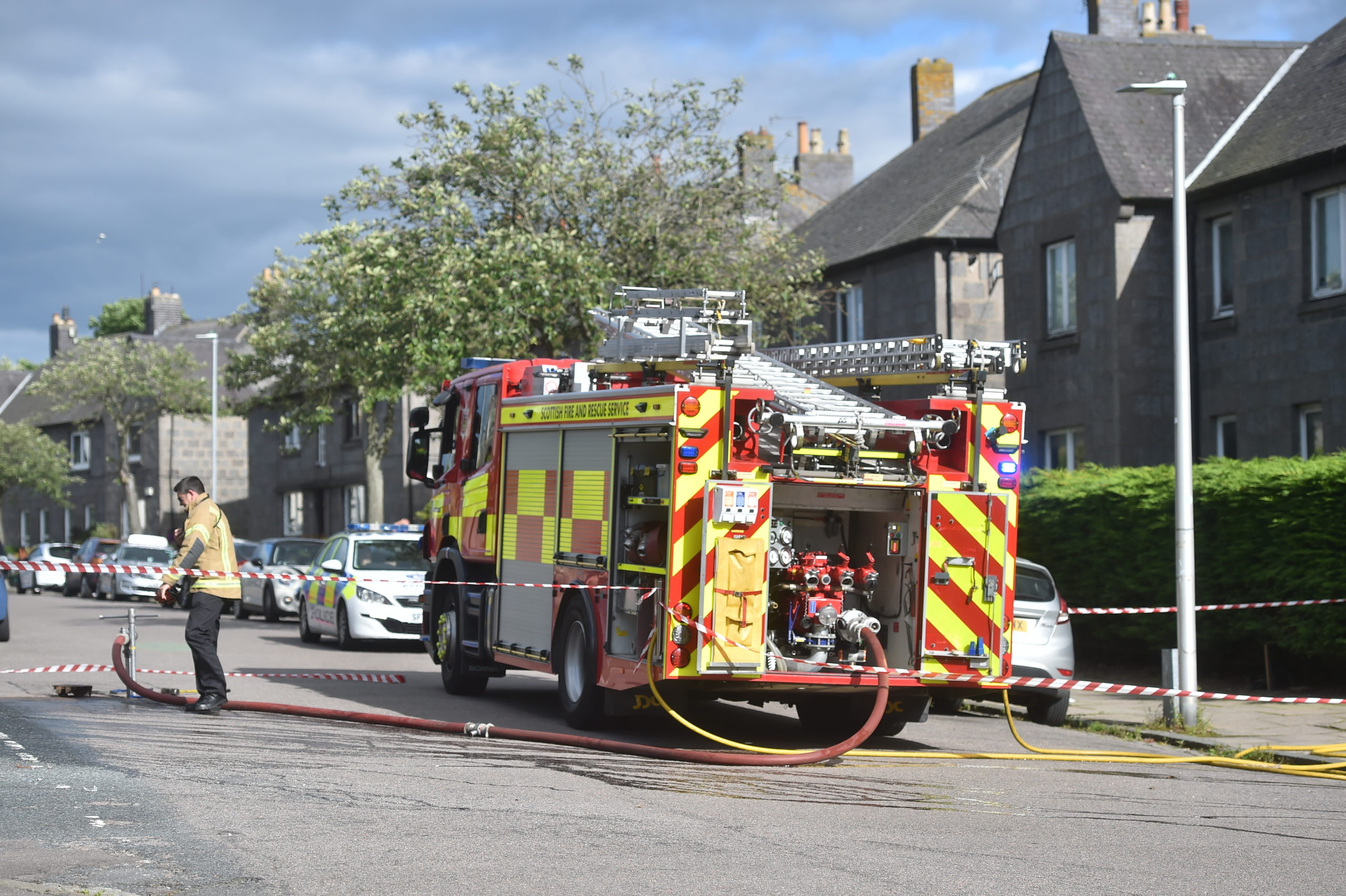 Fire engines at the scene on Polwarth Road, Torry.