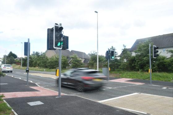 The new crossing on Longside Road, Peterhead