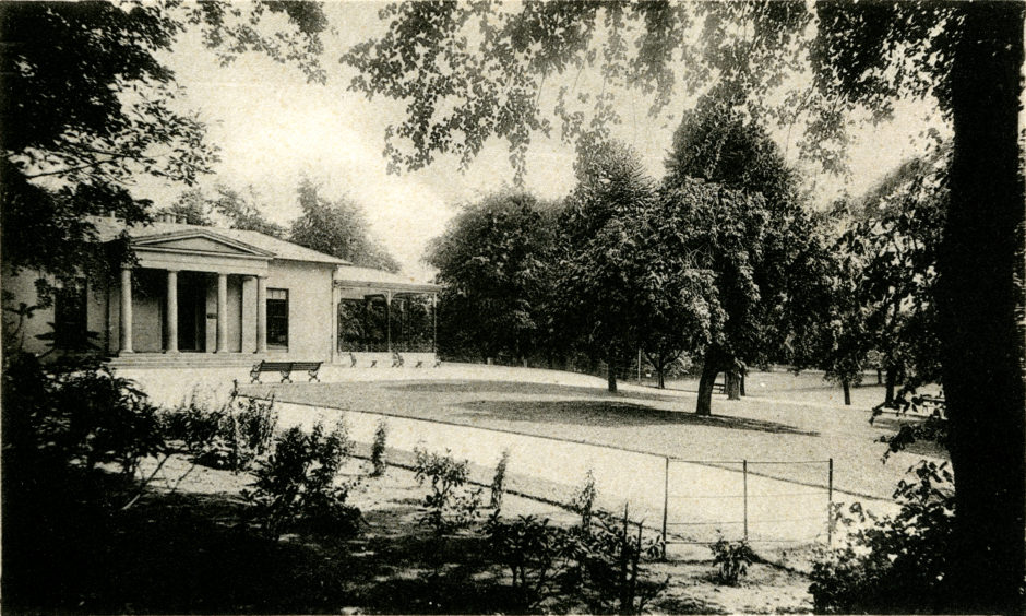 Westburn Park opened to the public in May 1901. This photograph shows the park in 1910. Westburn House, shown here, was designed in 1839 by Archibald Simpson for David Chalmers of the printing family who published the Aberdeen Journal newspaper.