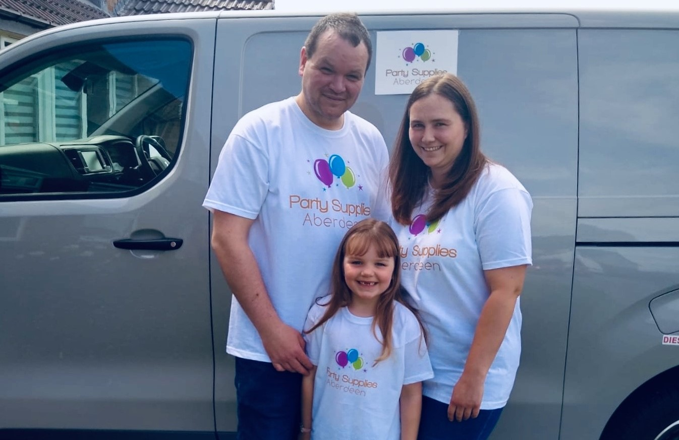 Ryan Coutts with partner Claire and daughter Chloe