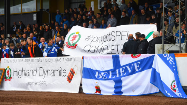 Cove Rangers supporters at the play-off win over Berwick Rangers
