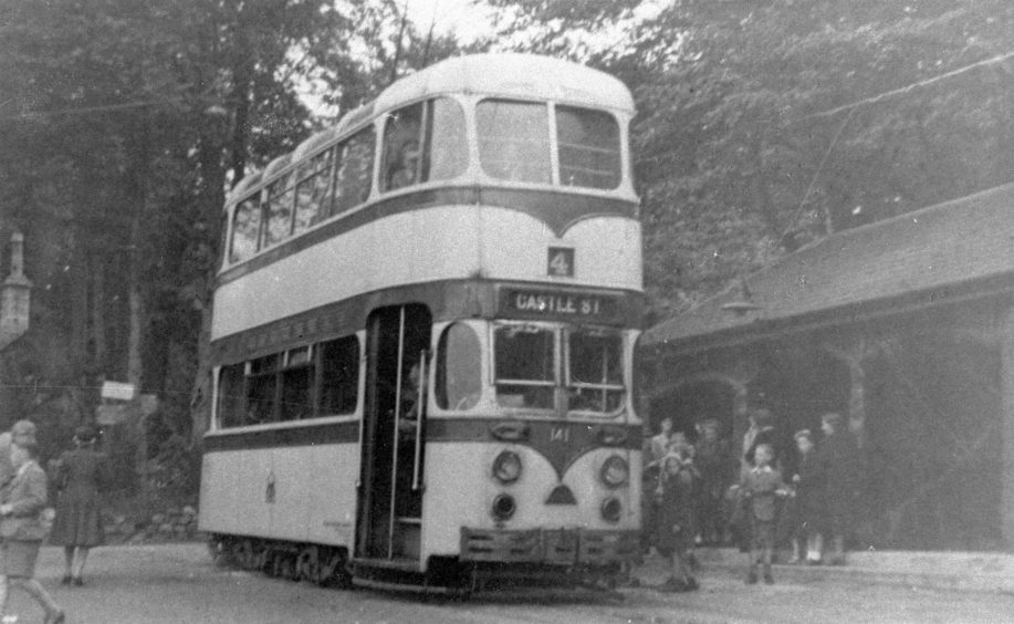 Mid 20th century photograph of the no. 4 tram, bound for Castle Street, at the Hazlehead terminus. It was vital residents were able to reach their parks using public transport. This was achieved primarily by trams until their removal in 1958. The terminus shelter remains at the park today.
