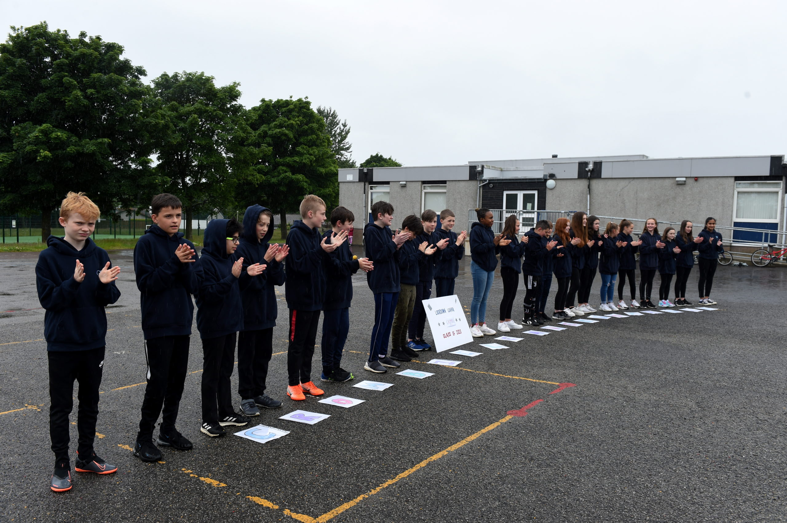 Primary seven pupils from Crombie School celebrate the end of their time at the primary