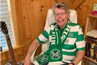 Stephen King wearing Buckie Thistle's kit