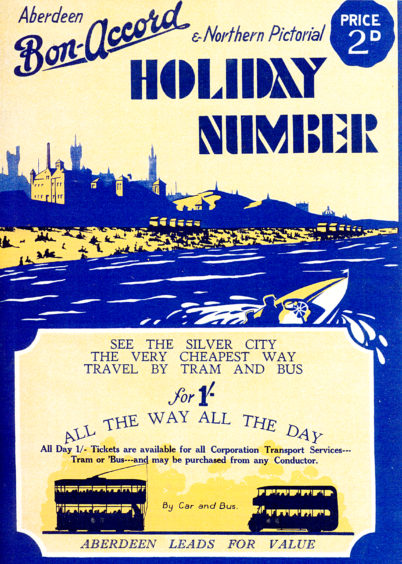 The Aberdeen Bon-Accord and Northern Pictorial was a newspaper published weekly from 1926 until 1959. Every June it published a special holiday number that promoted Aberdeen as a Mecca for holidaymakers. This cover from 1932 features a bold, beach themed design with Aberdeen's skyline in the background.