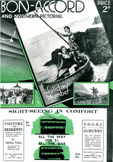 Another Bon-Accord and Northern Pictorial holidays number highlighting the attractions of Aberdeen Beach. The Art Deco style cover from 1935 features a series of photographs depicting boating by the sea, the busy beach promenade and walking in the nearby hills.