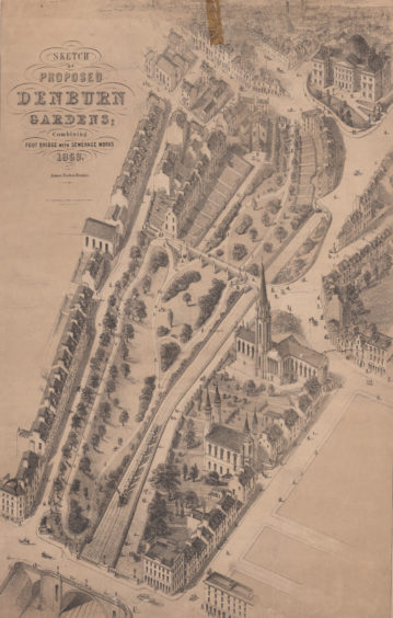 UTG was opened on 11th August 1879. This sketch by James Forbes Beattie from 1868 shows an early proposal for its lay-out. The detailed plan also includes the buildings surrounding the park and acts as a snapshot of the area at the time.