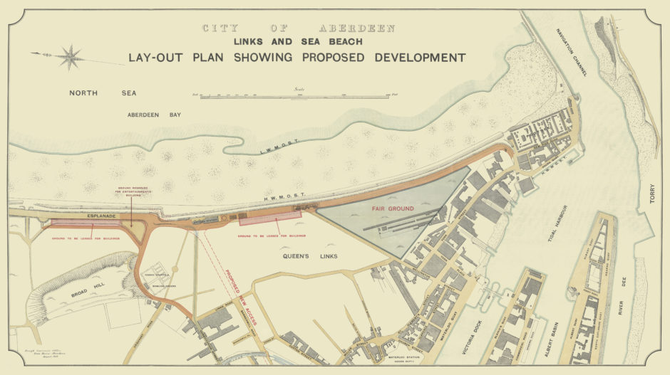 The Links and Sea Development Plan of 1923 led to the transformation of Aberdeen into a first-class holiday resort. It saw areas set aside for a dance hall, the Beach Ballroom, the new Pavilion variety theatre, shops and cafés along the promenade and a dedicated fair ground.
