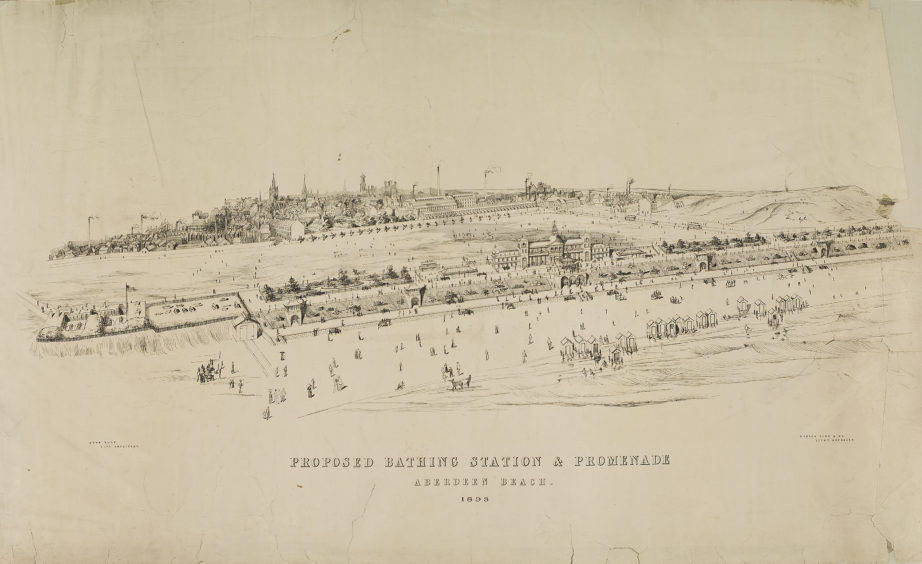 Illustration from 1893 of a proposed bathing station and promenade by City Architect John Rust. The construction of these two improvements in the late 19th century was fundamental to the development of the beach as an area for recreation. The Bathing Station was opened May 1898.