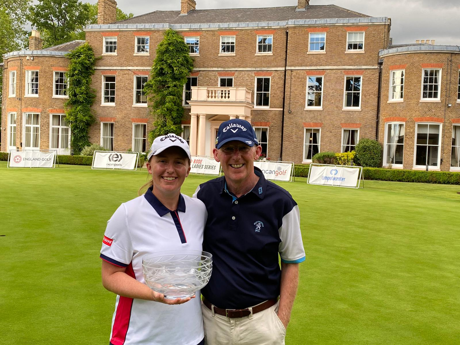 Gemma Dryburgh with her trophy from the Buckinghamshire and dad/caddie John.