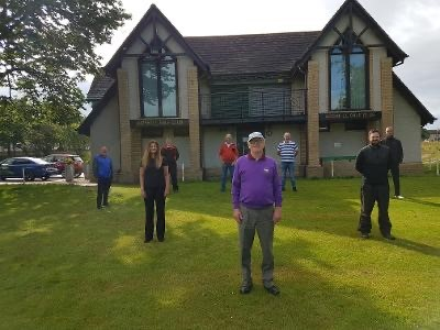 From left, Eddie Roberston, Andrea Stewart (stewardess), Wayne Gibson, Jeff Field, Gordon Graham (captain), Harry Dickie, Matty Smith (head greenkeeper) and Brian Burges.
