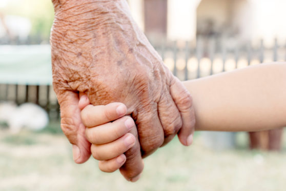 Grandparents will be allowed to hug their grandchildren outside for the first time in months from today