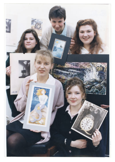 1992: Some of the Gray's School of Art students show their work which was selected for the Atlantic Power and Gas calendar (back from left) Morag Ramsay, Hazel Cowan, and Lorna Reith. In front are Virginia Williamson (left) and Pamela Philip.