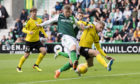 Hibernian's Florian Kamberi scores to make it 2-0 against Runavik at Easter Road two seasons ago.