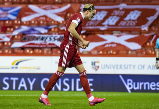 Ryan Hedges celebrates his third goal.