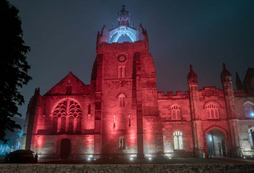 King's College lights up red for entertainment sector. Courtesy of: Rebecca McGregor