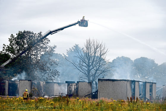 Fire services tackled the blaze at the former Cordyce School