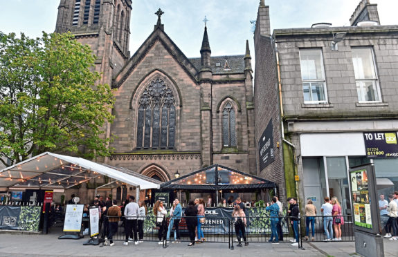 Pictured are people at Soul Bar, Union Street, Aberdeen. Story on people drinking in Aberdeen following the easing of lockdown restrictions. Picture by DARRELL BENNS   Pictured on 31/07/2020 CR0022803