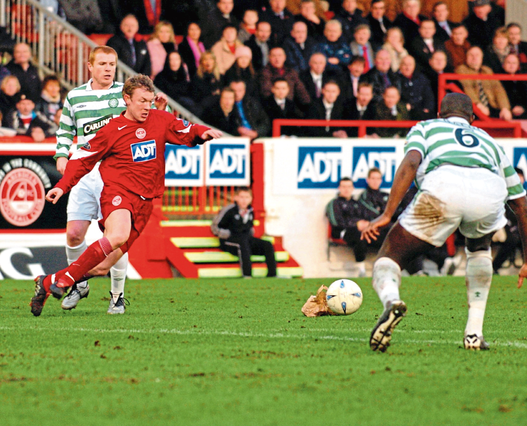Steve Tosh in his Aberdeen days, playing against Celtic.