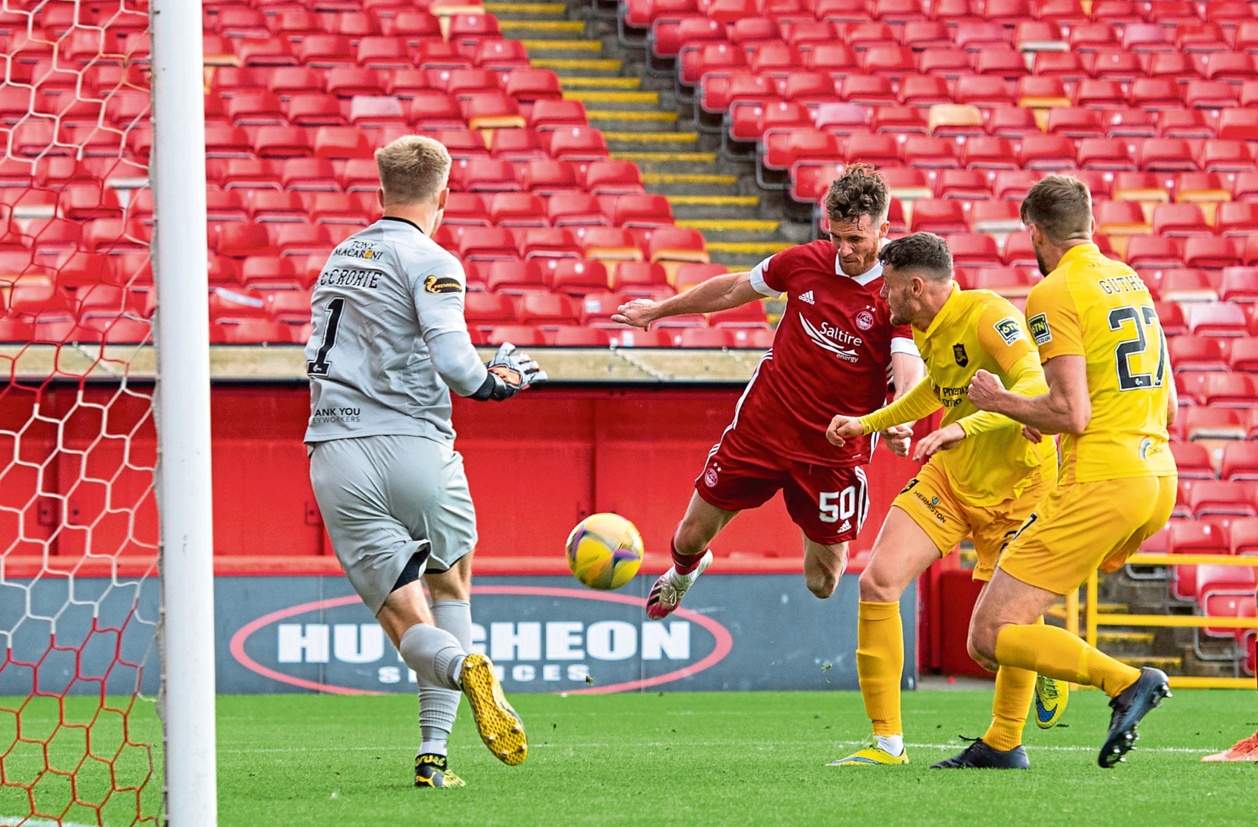 New loan signing Marley Watkins in action for Aberdeen against Livingston.