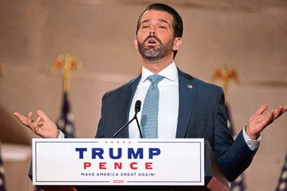 Donald Trump Jr cracked a joke about Joe Biden in his convention address