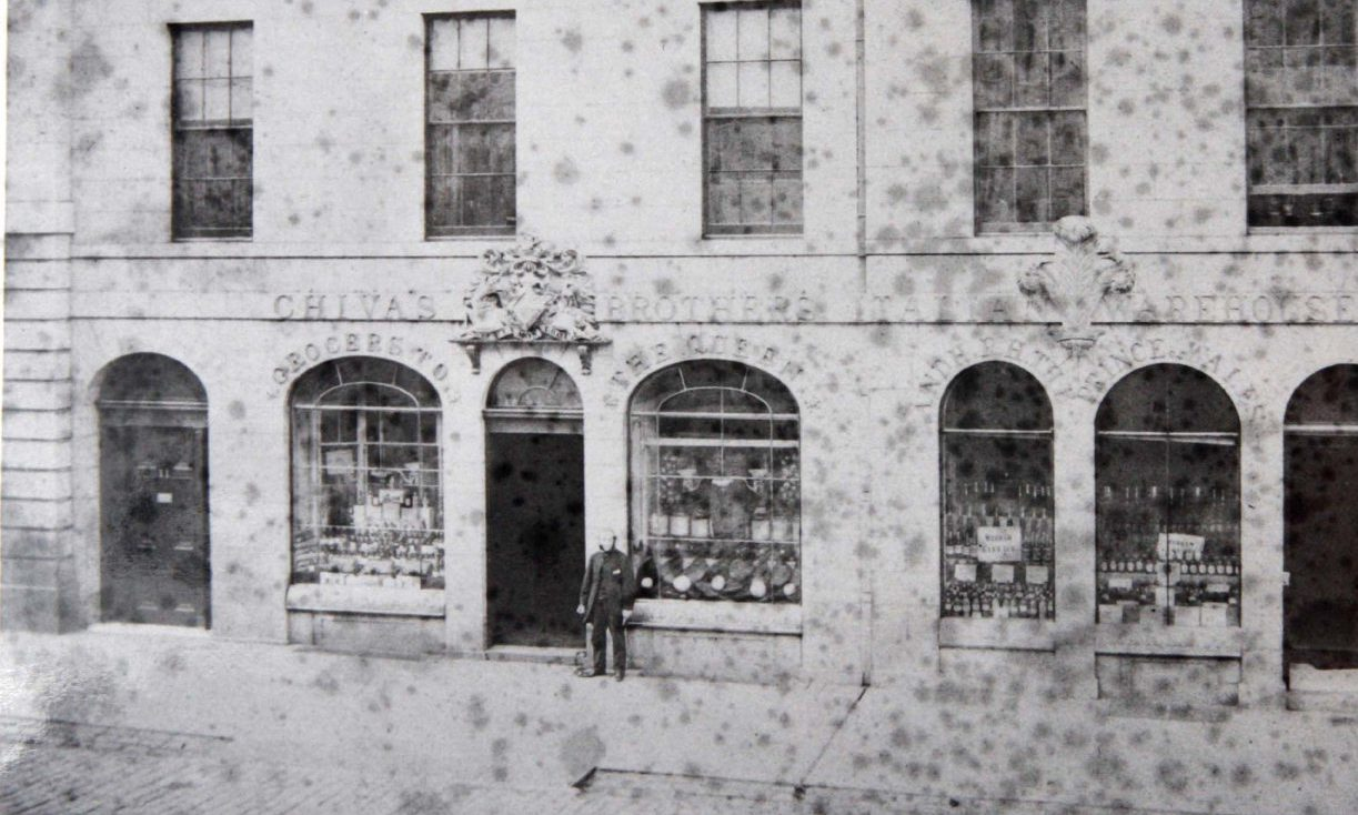 James Chivas, one of the brothers who started the global brand, standing in front of the shop that bears his family name on King Street in 1862.