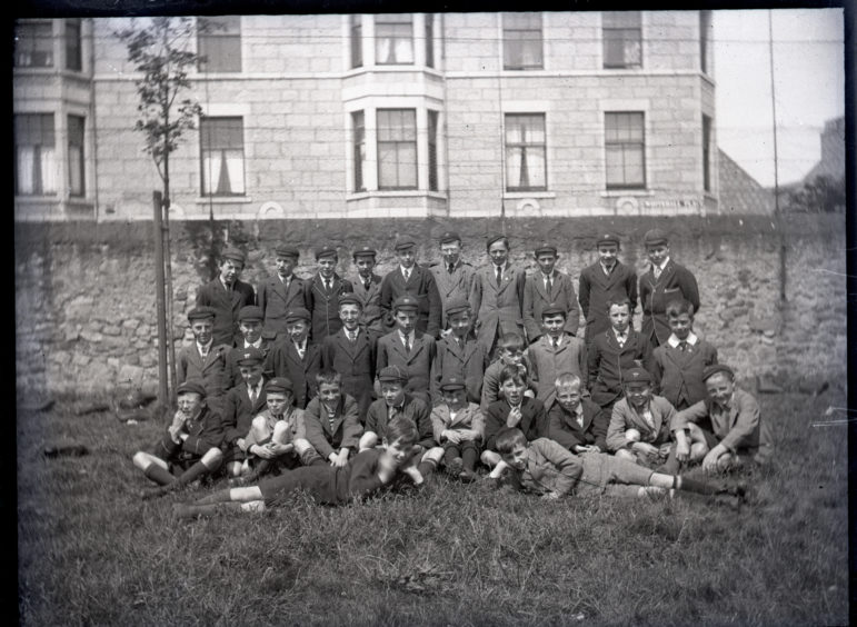 Group of schoolboys in front of Whitehall Place, Aberdeen