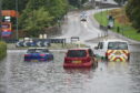 A number of roads in Aberdeen were badly flooded, including Garthdee Road. Image by Darrell Benns