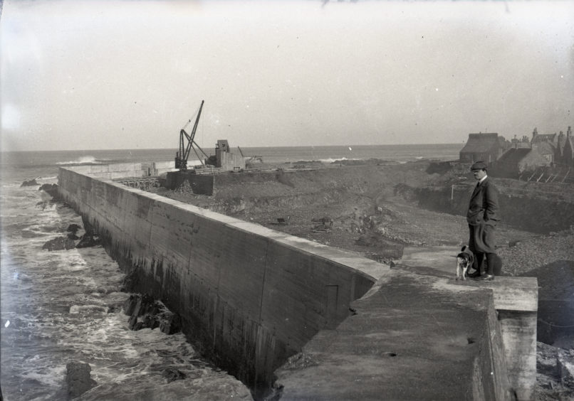 Man and dog stood on Peterhead harbour wall during excavation