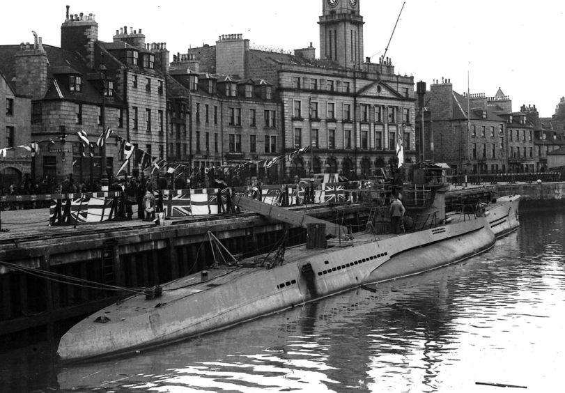 Captured German U-Boat U776 docked in Aberdeen Harbour as part of UK tour, August 1943